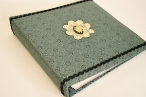 Vintage Homemade Green Fabric W/ Black Floral Design White Quilted Photo Album