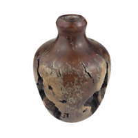 Vintage Mid Century Burl Wood Small Turned Round Vase VG! HEAVY