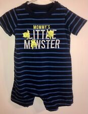 Child Of Mine By Carter's Baby Boy Blue Striped Romper Mommy's Little Monster 12