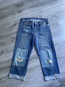 "lvc levis vintage clothing 1915 White Oak Selvedge Cropped Patched Jeans 32"""