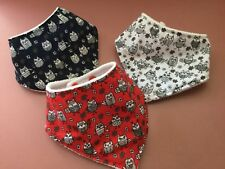 Three Baby Dribble - Bandana Bibs OWL Designs Fleece Backed NEW