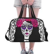 Custom Duffle Overnight Bag Sugar Skull Girl Flowers Makeup Weekender Travel Bag
