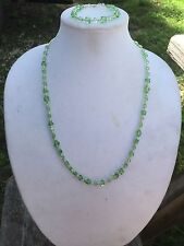 HDMD by Cyndi Beaded Necklace and Bracelet Set Spring Green and Silver Glass