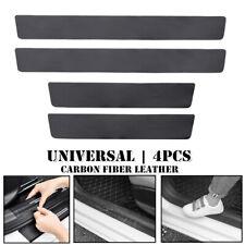 4Pcs Carbon Fiber Leather Car Door Plate Sill Scuff Cover Anti Scratch Sticker