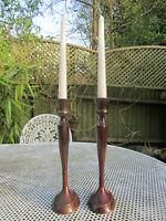 Old Pair Edwardian Style Bronze Paternated Brass Candlesticks English c1960