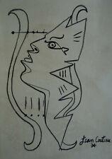 Fine & Rare Portrait ink illustration drawing, Marked, signed, Jean Cocteau