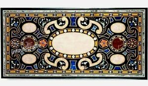 24 x 60 Inch Marble Coffee Table Top  Antique Design Inlaid Patio Table for Lawn