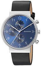 Skagen Original SKW6417 Men's Ancher Blue Dial Black Leather Watch Chrono