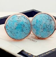 Vintage 1950s Turquoise Blue Marble Glass Large Round Rose Goldtone Cufflinks