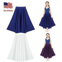 US Girls Kids Liturgical Pleated Skirt Praise Maxi Full Circle Skirt Dance Dress
