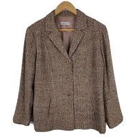 Anthea Crawford Jacket Blazer Womens 16 Plus Silk Tweed Brown Button Front