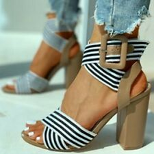 Womens Chic Striped Elastic Crossover Ankle Strap Block Heel Sandals Shoes SKGB