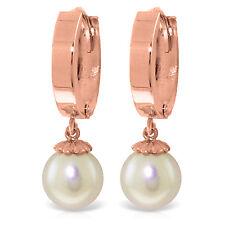 4 CTW 14K Solid Rose Gold Hoop Earrings Natural pearl