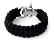 Paracord Survival Bracelet Any Size Black Adjustable Shackle Hand Made USA