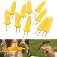 10X STAINLESS STEEL CORN ON THE COB HOLDERS BBQ PRONGS SKEWERS FORKS PARTY