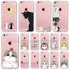 Cute Cartoon Cat Design Clear Soft TPU Case Cover For iPhone 5S SE 5C 6 6S Plus