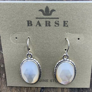 Barse Meadow Earrings- Mother of Pearl- Silver Overlay- NWT