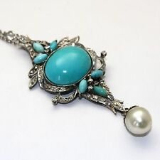 GORGEOUS PERSIAN TURQUOISE DIAMOND PENDANT IN PALLADIUM WITH SOUTH SEA PEARL
