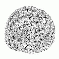 Pave Swirling Cubic Zirconia Cocktail Dome Ring .925 Sterling Silver Jewelry CZ