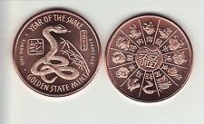 2013 Year Of The Snake 1 oz. Copper Round Coin
