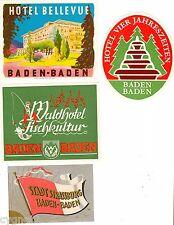 LUGGAGE LABELS GROUP OF 4 GERMAN HOTELS BADEN-BADEN