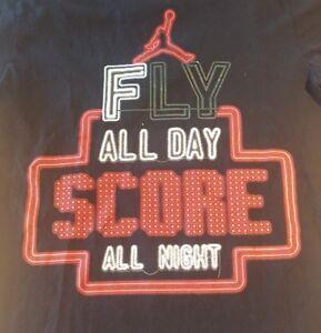 Nike Michael Air Jordan Fly All Day Score All Night Shirt Black/Red Men's Size S