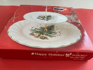 "NIKKO ""HAPPY HOLIDAYS"" SWIRL 2 TIER TIDBIT SERVING TRAY WITH HANDLE NIB"