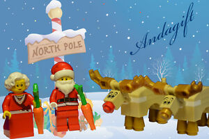 LEGO Santa Mrs Christmas and TWO of  SANTA's REINDEERS carrot lego food