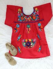 Mexican Baby Girls Red Dress multicolor Embroidered flowered 3-18 months