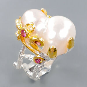 Fashion Art women Baroque Pearl Ring Silver 925 Sterling  Size 8 /R172311