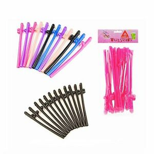 12 Novelty Multi Jumbo Straws Hen Party Night Willy Accessories Girls Out