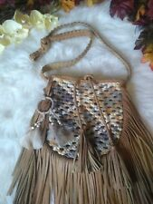 Nice Bohemian Faux Leather Tan Fringe Crossbody Handbag Purse,gypsy,boho,feather