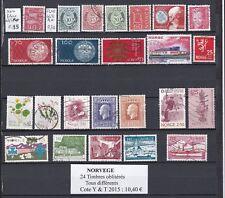 24 timbres de NORVEGE oblitérés tous différents très bon état identique au scan