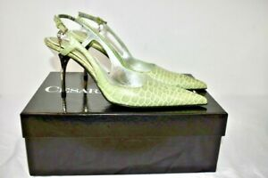 CESARE PACIOTTI Green Leather Women's Sling Back Shoes Size 36 Or 6M On Sale SV