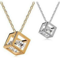 Unisex Necklace Crystal Magic Cube Pendant Chain Women Fashion Jewelry Gift
