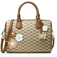 NWT Michael Kors Signature Flora Applique Mercer Medium Duffel MK Natural Brown