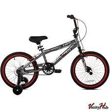 "NEW 18"" Inch Boys BMX Bike w Training Wheels & Front Pegs Kids Bicycle 6-9 years"