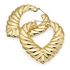 Corazón De Color Oro Grande Pendientes Damas Vestido Elegante Joyería de Moda