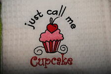 personalised embroidered tea towel  KITCHEN - CUPCAKE add a name for FREE