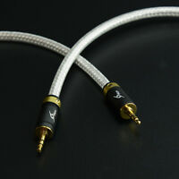 6ft 2M MCA Silver Plated Stereo 3.5mm Male to 2RCA Male Audio Cable Hi-Fi