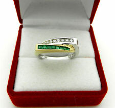 Solid 14k Yellow & White Gold Chanel Set Real Diamonds Emeralds Ring