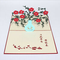 Carving Greeting Card Plum Vase Birthday Thanksgiving Day 3D Paper Card Jian