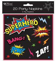 Pack of 20 Childrens Birthday Party Paper Napkins - Boys/Girls Superhero