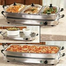 Elite 2.5 qt. 3 Tray Buffet Server Crockery Kitchen Decor Cookware 7.5-quart NEW