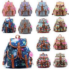 Ladies Canvas Retro Vintage Large Backpack Women Rucksack College School Bag