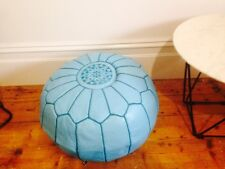 Stunning Moroccan Leather Ottoman Pouffe Pouf Footstool In Light Blue