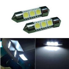 2pcs Xenon White 36mm 3-SMD 5050 LED Car Dome Bulb Sun Visor Mirror Fuse Light