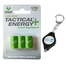 Viridian CR2 3v Lithium Batteries 3 Pack with a Keychain Light