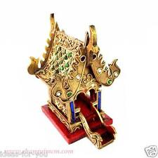 Thai Spirit House Mini Tample Small Handcraft Buddha House Gold Mirror Stencil