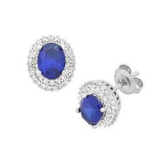 Blue Cubic Zirconia Stud Fine Earrings